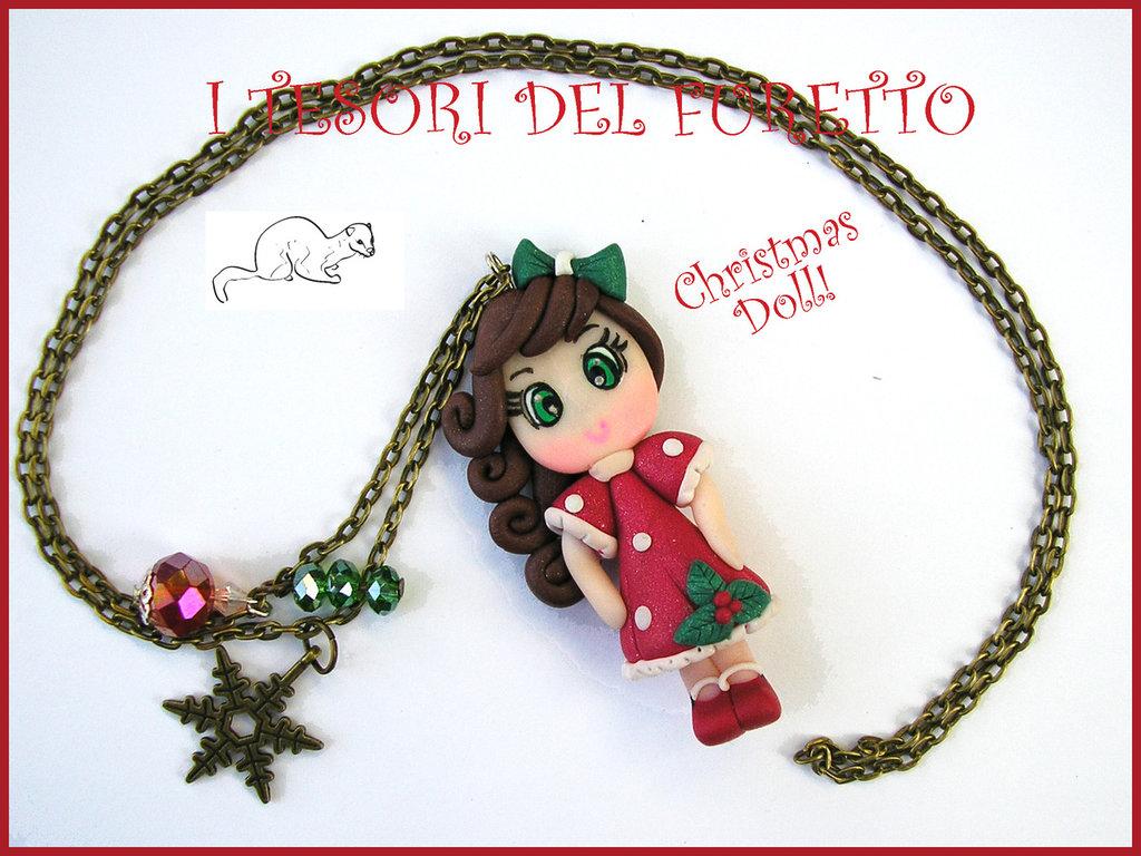 """Collana """"Christmas Doll Natale Mod. Mery Rosso/Bianco Agrifoglio"""" fimo cernit bijoux natalizi idea regalo bambina"""