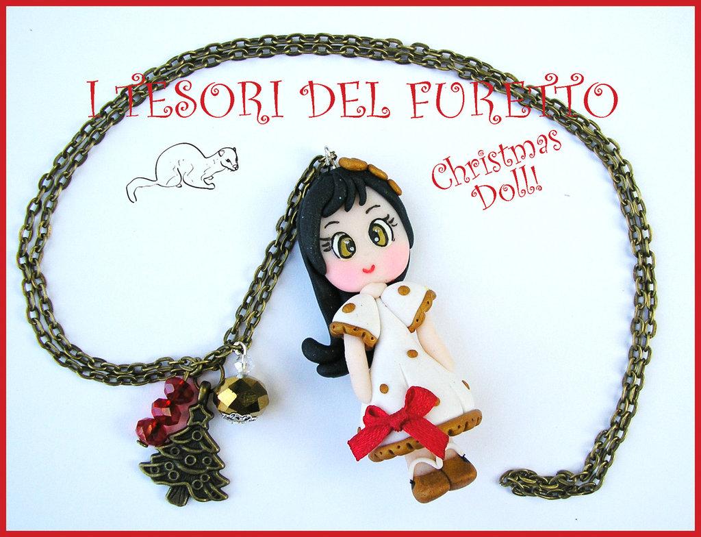 "Collana ""Christmas Doll  Natale Mod. Stefy Abito Bianco pois dorati"" fimo cernit kawaii idea regalo Bambina"