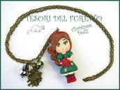"""Collana Bambolina """"Christmas Doll Natale Mod. Veronica Verde stella natale"""" fimo cernit bijoux natalizi idea regalo bambina"""