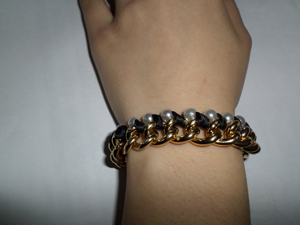 bracciale raso e perle
