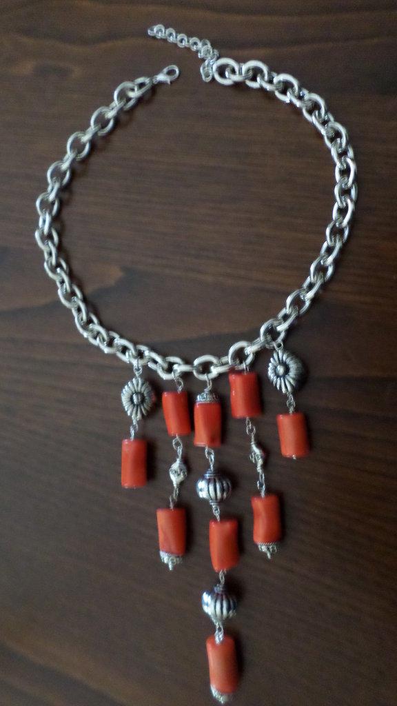 collana corallo bambù rosa e argento indiano