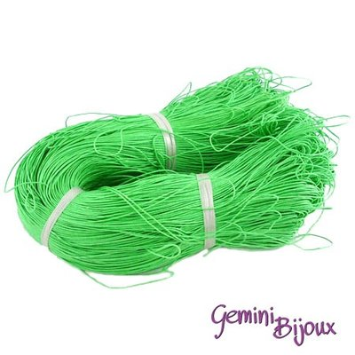 Lotto 1 metro cordino cotone cerato verde lime 1mm