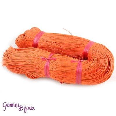 Lotto 1 metro cordino cotone cerato orange red 1mm