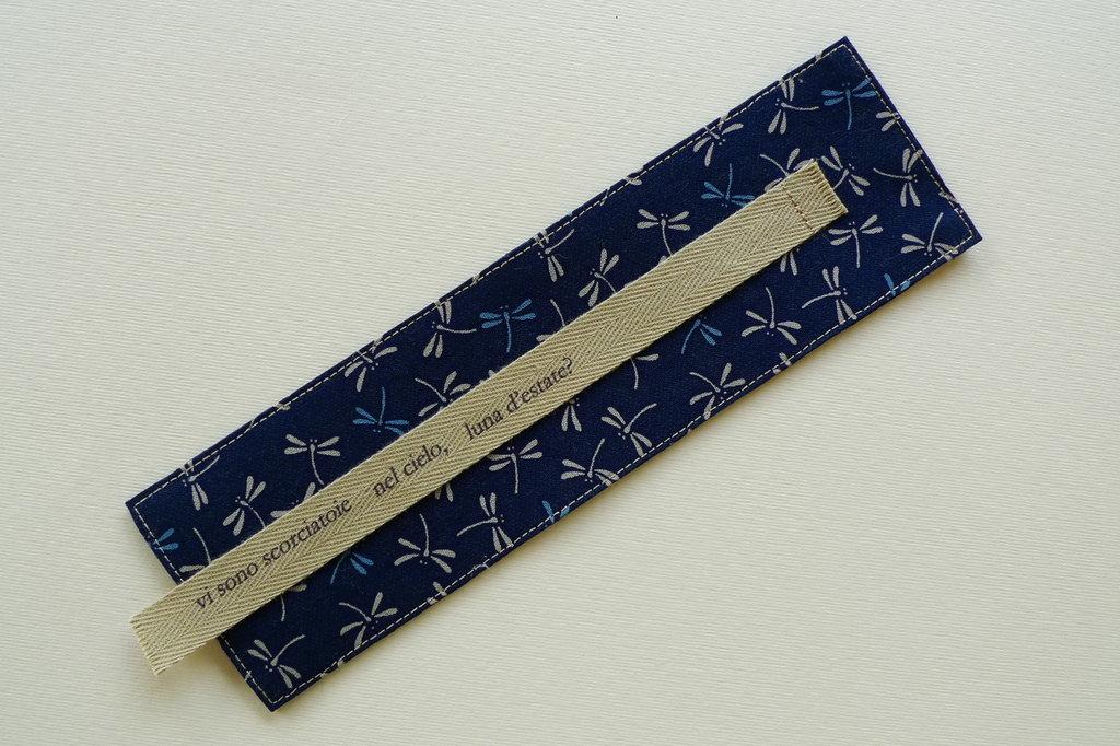 Segnalibro handmade in tessuto giapponese libellule – haiku