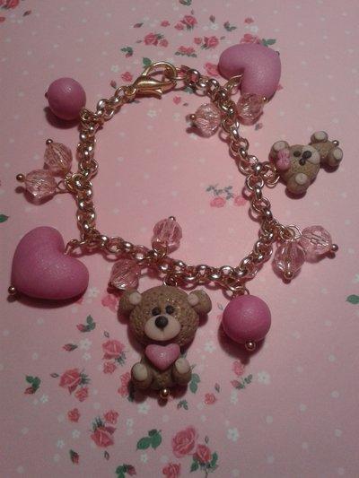 bracciale con orsetto e cuoricini