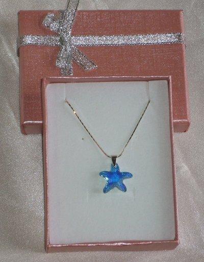 Collana Stella Marina Azzurra, in Argento 925 e Cristallo