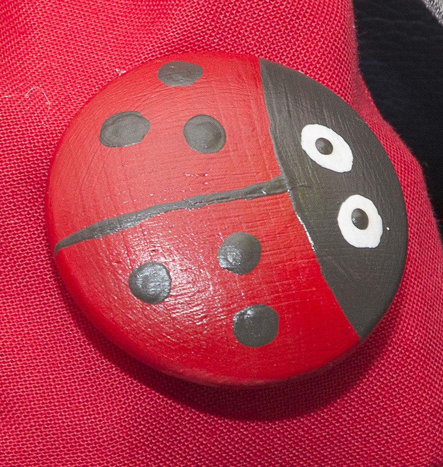 Calamita coccinella, dipinta a mano, magnete per frigo, anche per bomboniera