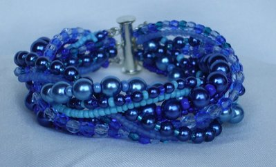 Bracciale Perle Vetro Blu e Azzurro