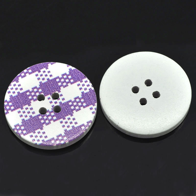 Set 6 bottoni 30mm - Plaid viola