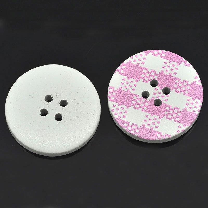 Set 6 bottoni 30mm - Plaid rosa
