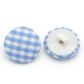 Set 10 bottoni 17mm - Plaid celeste