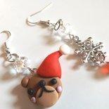Orecchini Natale orsetto,ciondolo fiocco di neve ,fimo e cristalli