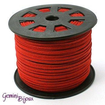 Lotto 1 metro cordino pelle scamosciata 3mm dark red