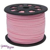 Lotto 1 metro cordino pelle scamosciata 3mm rosa