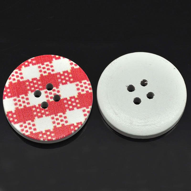 Set 6 bottoni 30mm - Plaid rosso
