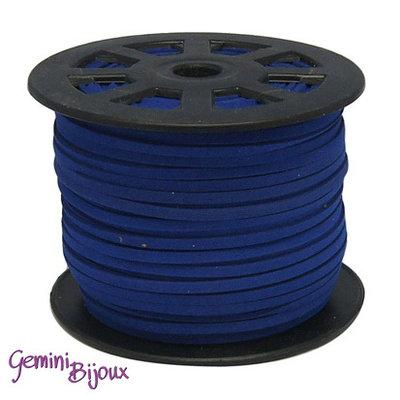Lotto 1 metro cordino pelle scamosciata 3mm blu scuro