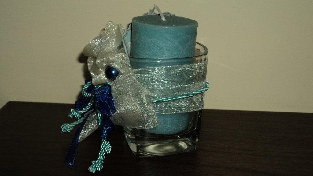 """bomboniera utile segnaposto artigianale fai da te bicchiere vetro con candela profumata """"tiffany"""""""