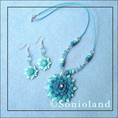 Collana e orecchini fiore Turchese