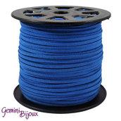 Lotto 1 metro cordino pelle scamosciata 3mm blu elettrico