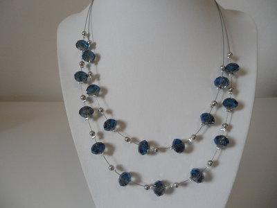 Girocollo di Cristalli Blu con Cavetto D'acciaio