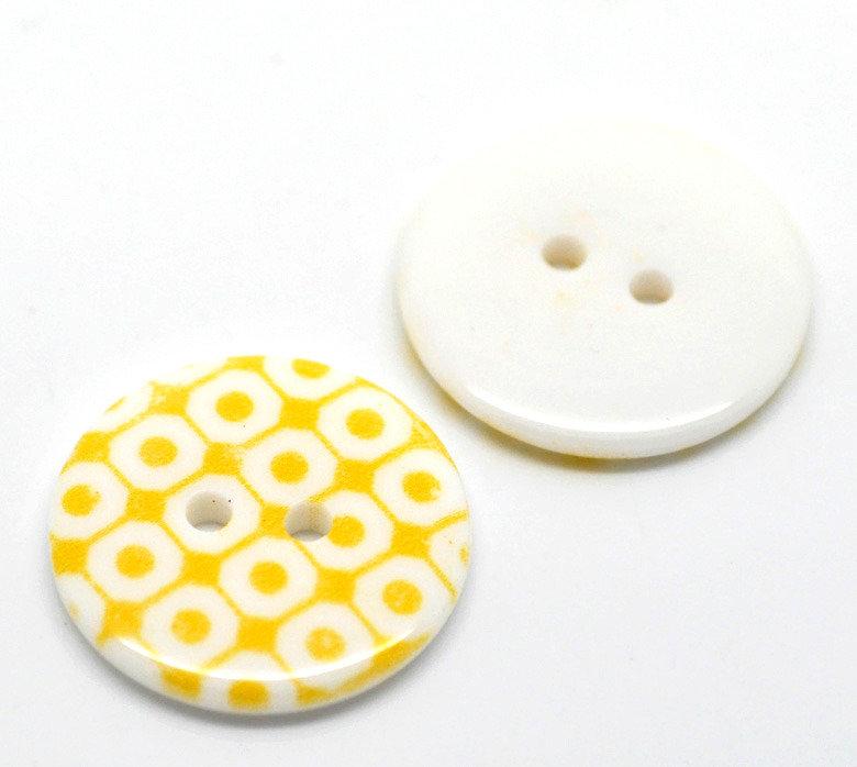 Set 5 bottoni 23mm - Quadri gialli