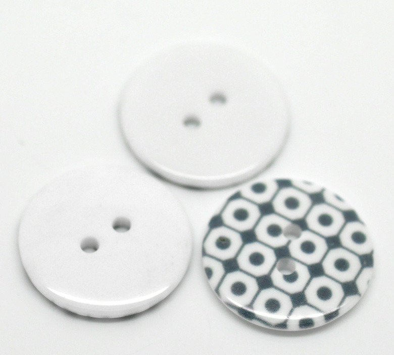 Set 5 bottoni 23mm - Quadri grigi
