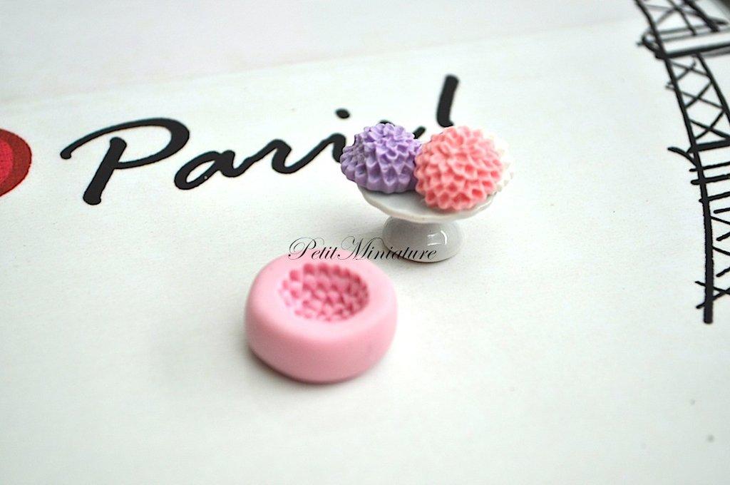 STAMPO FIORE 1,3cm ST007 in silicone flessibile 3d macaron miniature dollhouse charm kawaii fimo gioielli sapone resina gesso