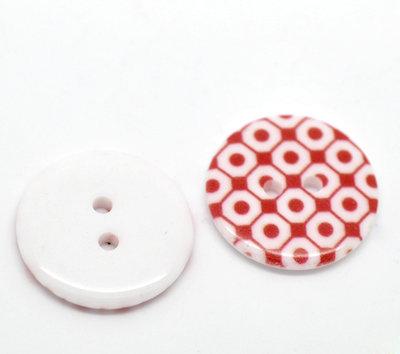 Set 5 bottoni 23mm - Quadri rossi