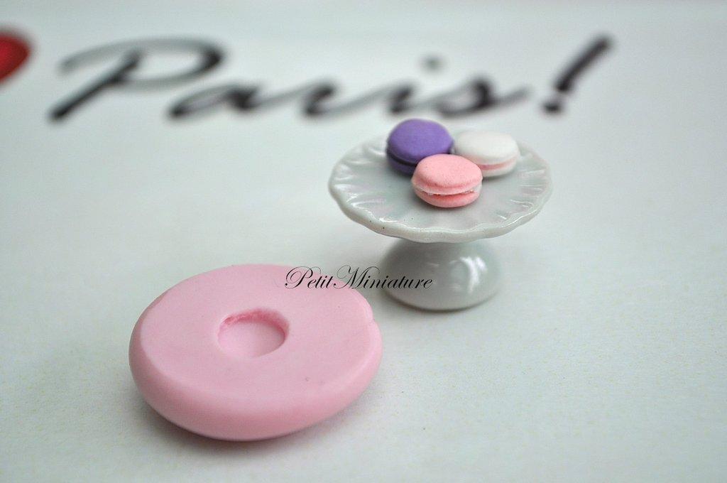 STAMPO MACARON 2,5cm ST002 in silicone flessibile 3d macaron miniature dollhouse charm kawaii fimo gioielli sapone resina gesso