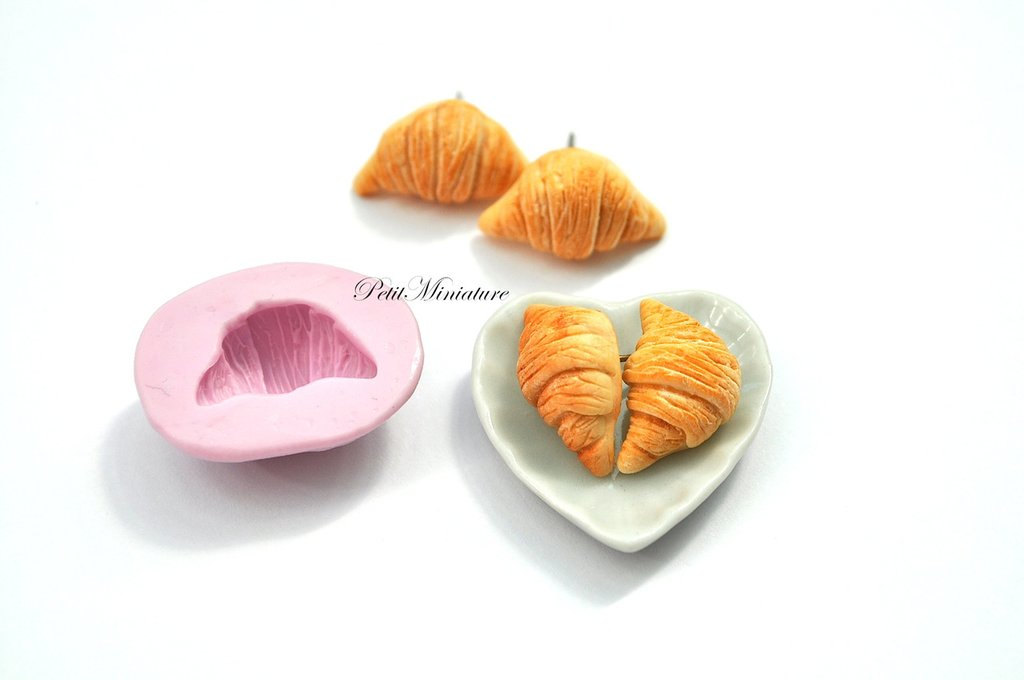 STAMPO PANE ST050 croissant in silicone flessibile stampo dolci dollhouse fimo gioielli charms cabochon cibo in miniatura kawaii