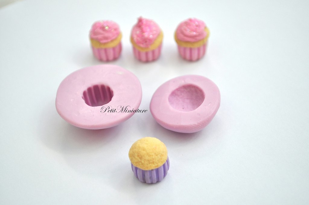 STAMPO FIMO cupcake 0,8mm ST047 in silicone flessibile 3d miniature dollhouse charm kawaii fimo gioielli sapone resina gesso