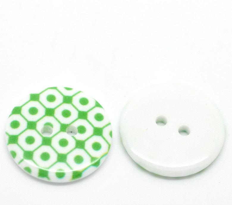 Set 5 bottoni 23mm - Quadri verdi
