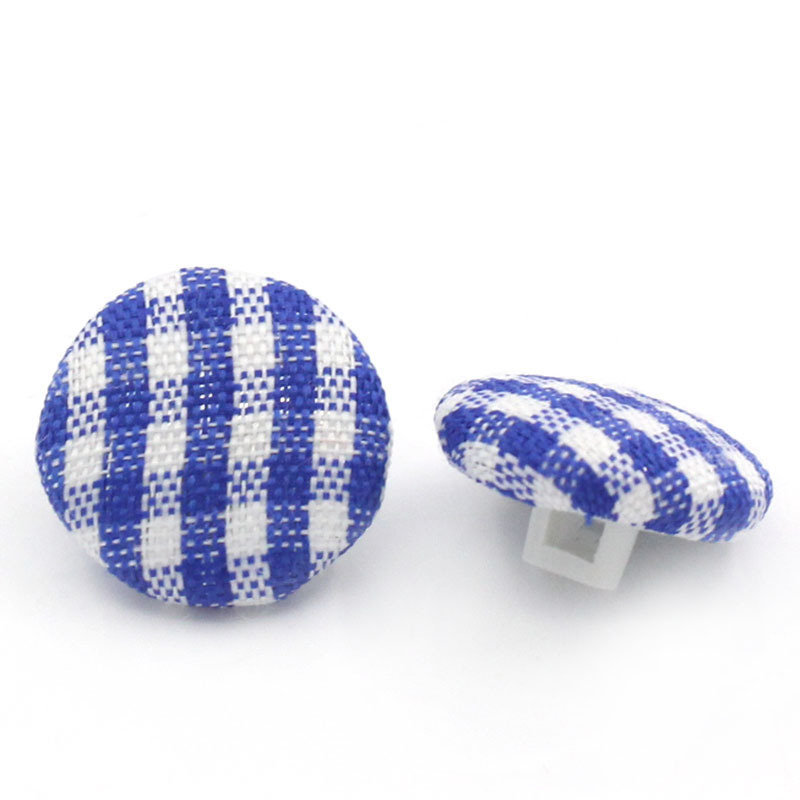 Set 8 bottoni - plaid blu