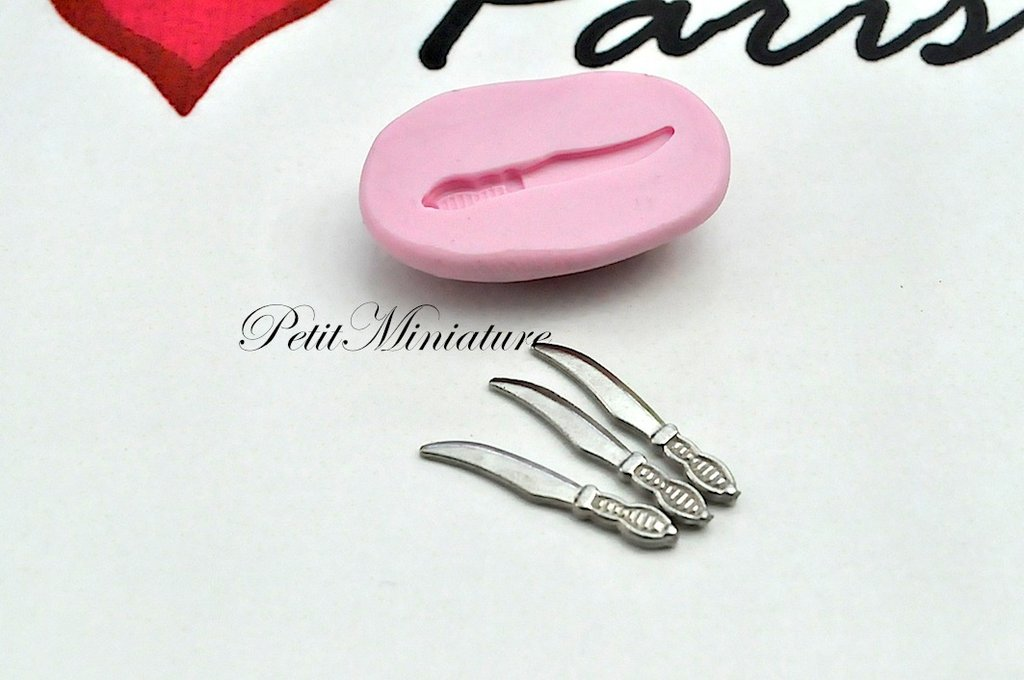 Stampo per fimo ST037 flessibile mini posate forchetta cucchiaio coltello casa delle bambole-dollhouse-miniature-kawaii-stampo fimo