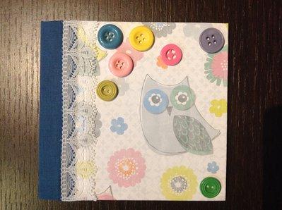 Quaderno con gufi e bottoni fatto a mano