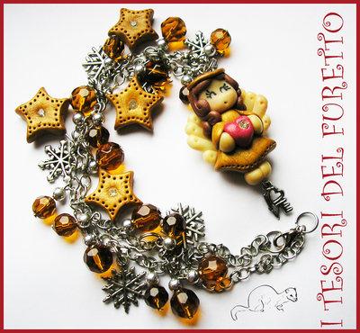"""Collana """" Angelo Fufuange Dorato """" angioletto fiocchi neve dorato oro stelle Natale"""