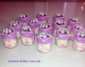 Barattolo Bomboniera/confettata in vetro decorato in fimo