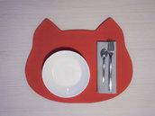 tovaglietta americana Gattino rossa fatta a mano + tovagliolo - incassi devoluti in beneficenza a cani e gatti abbandonati