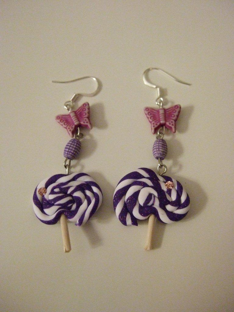 Orecchino lollipop viola