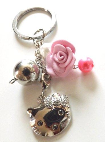 Portachiavi ciondolo da borsetta con gattina e rosa in fimo regalo