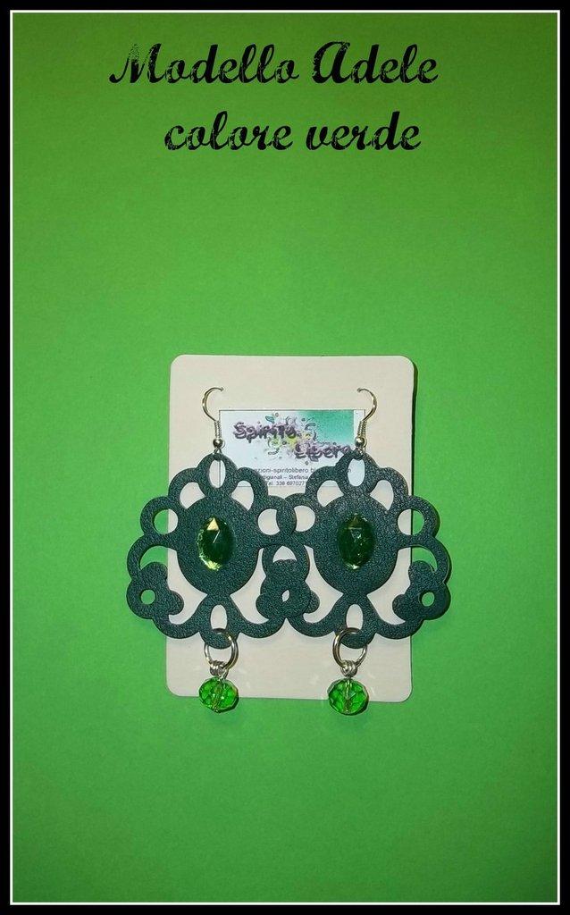 Orecchini in similpelle verde mod. Adele