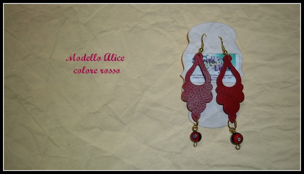 Orecchini in similpelle rossa mod. Alice