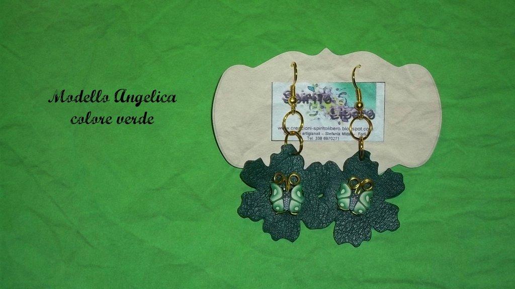 Orecchini in similpelle verdi mod. Angelica