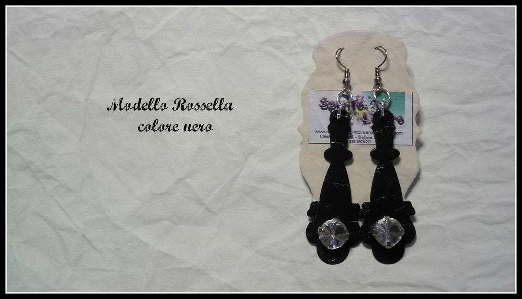 Orecchini in similpelle nera mod. Rossella