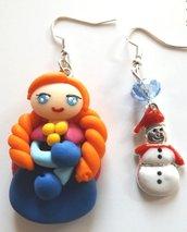 Orecchini principessa Anna in fimo e ciondolo pupazzo di neve!!