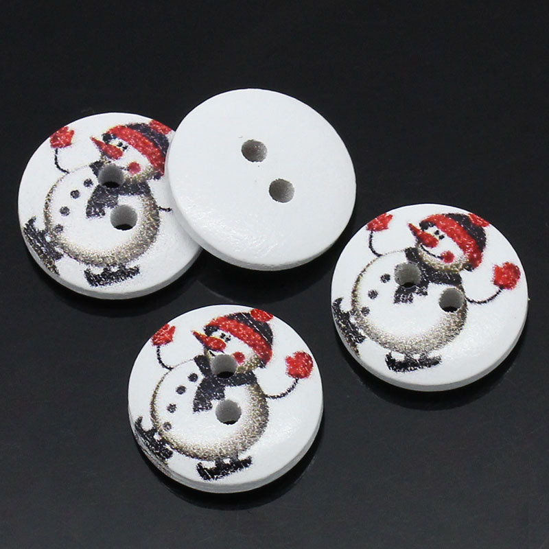 Set 8 bottoni 15mm - Snowman