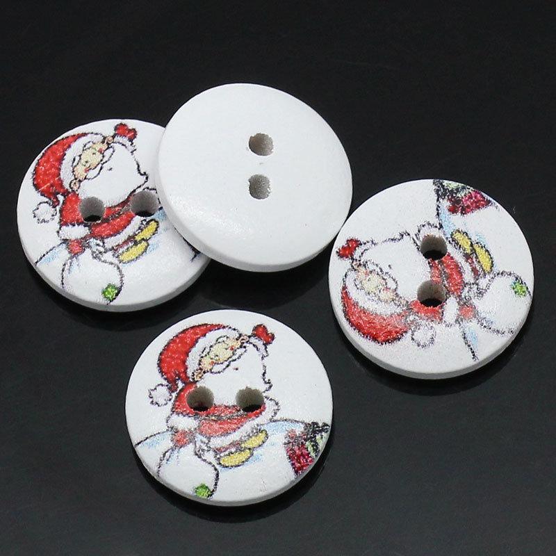 Set 8 bottoni 15mm - Babbo Natale