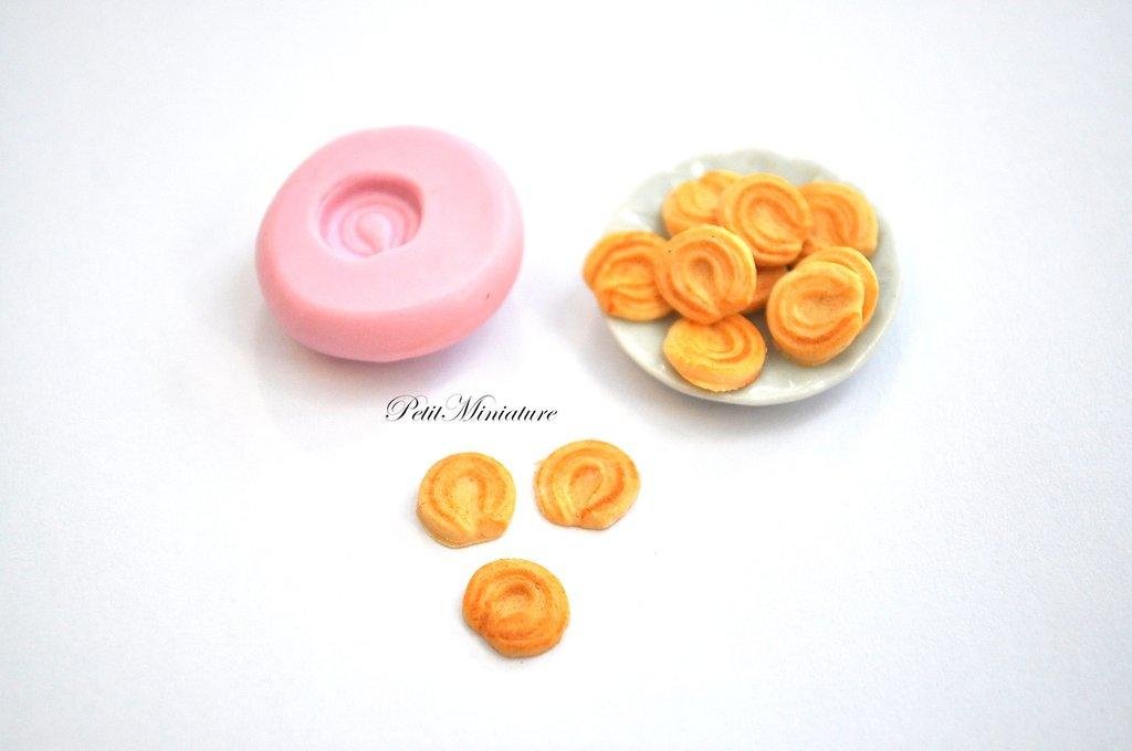 STAMPO FIMO ST045 biscotto 0,6mm in Silicone flessibile - cibo in miniatura, gioielli,dollhouse,fimo gioielli,miniature cucina,scala 1:12