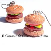 Orecchini panino hamburger in fimo pendenti