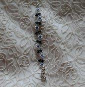 Bracciale con perle bianche, twin beads, bicono Swarovski